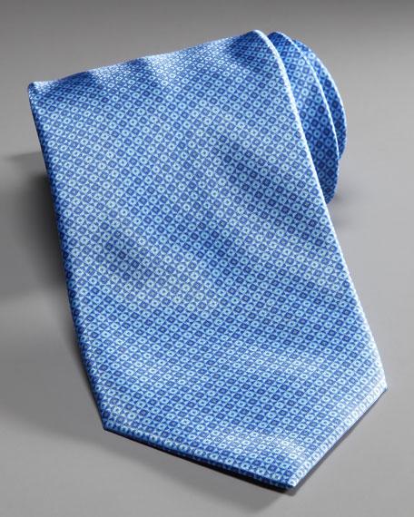Micro-Grid Silk Tie, Blue