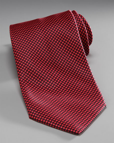 Grid Silk Tie, Red/Black