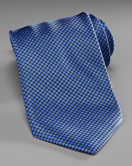 Mini-Dot Silk Tie, Blue