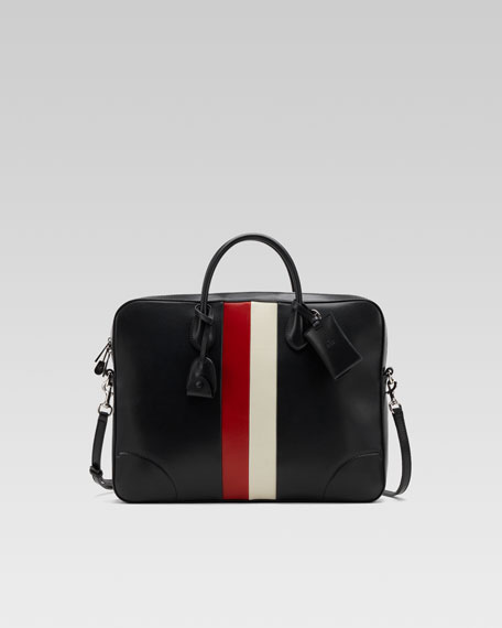 Briefcase with Web Accent, Black