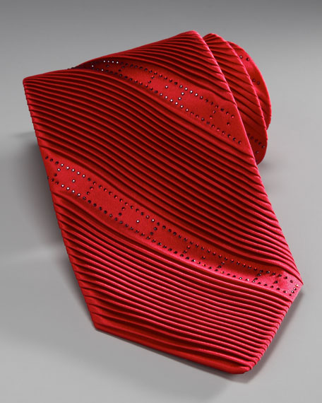 Pleated Crystal Tie, Red