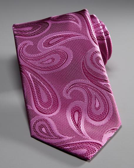 Paisley Silk Tie, Magenta