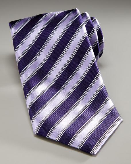 Regimental Striped Tie, Purple