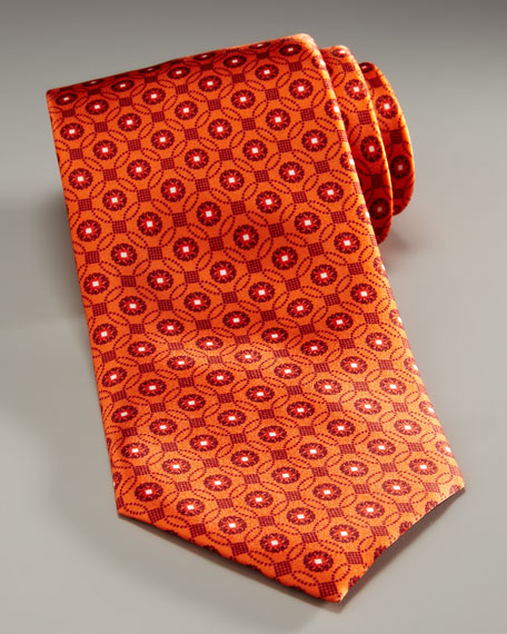 Tonal Medallion Tie, Orange