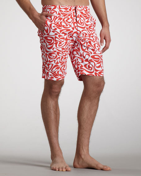 Dane Water-Print Boardshorts