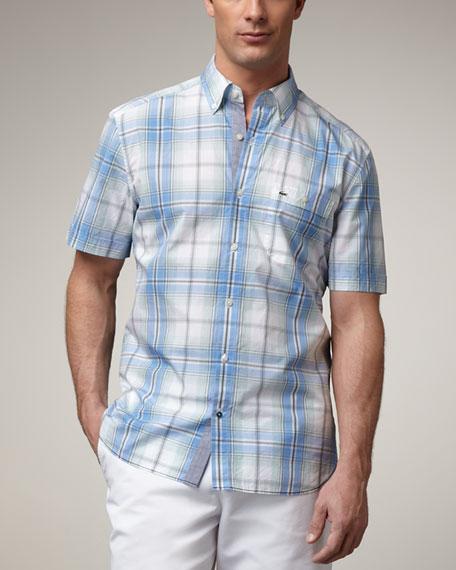 Short-Sleeve Plaid Shirt