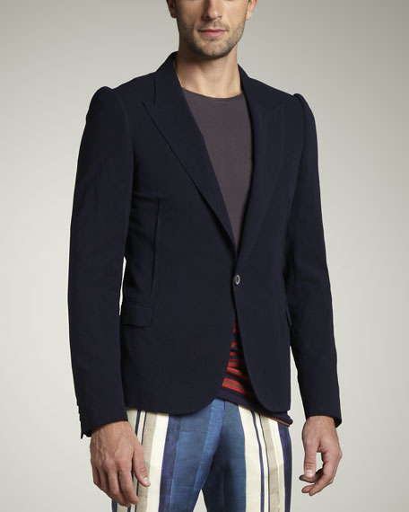 One-Button Cotton Blazer
