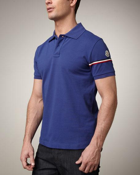 Flag-Sleeve Polo, Cobalt Blue