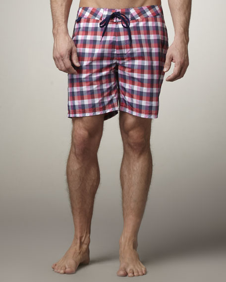 Rainbow Plaid Swim Trunks