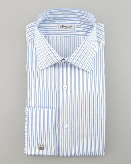 Striped French-Cuff Dress Shirt, White/Blue