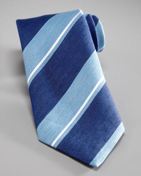 Bold-Stripe Silk Tie, Blue