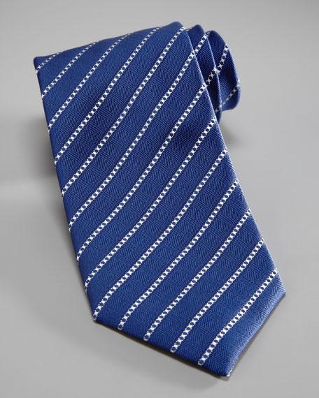 Diagonal-Dash Silk Tie, Navy