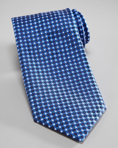 Dot & Grid Silk Tie, Blue