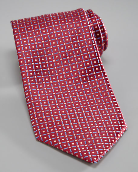 Dot & Grid Silk Tie, Burgundy