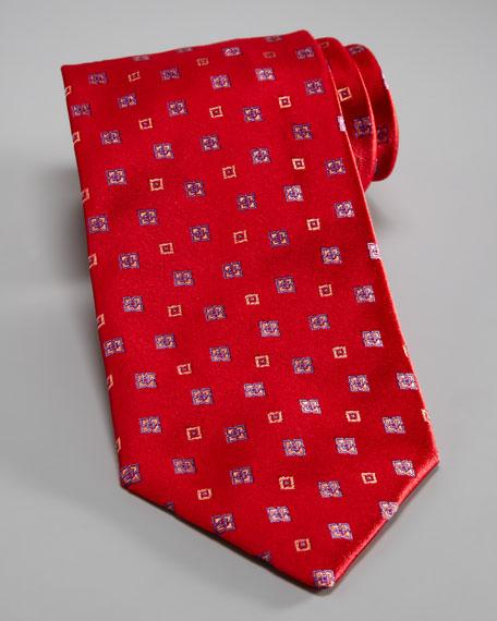 Flower & Square Tie, Red/Purple