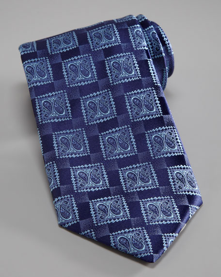 Paisley-Square Silk Tie