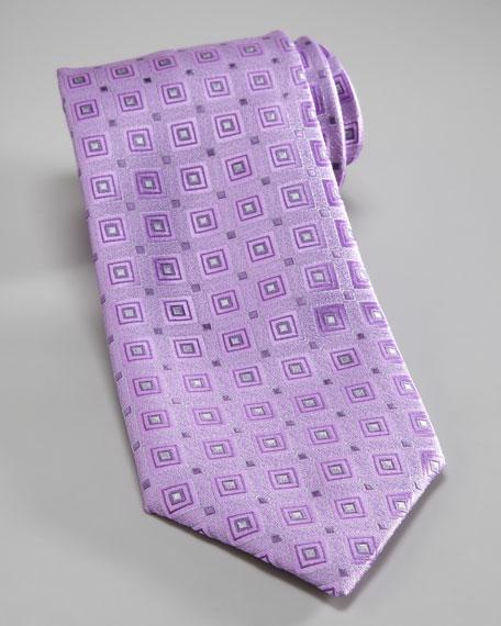 Square-Print Silk Tie, Lavender