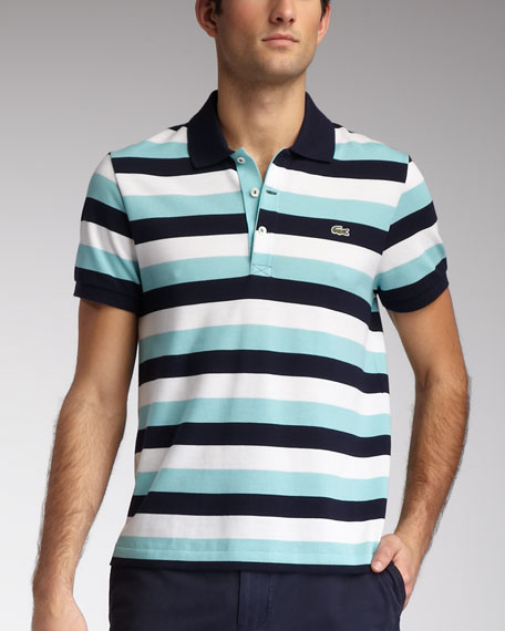 Slim-Fit Striped Polo, Navy