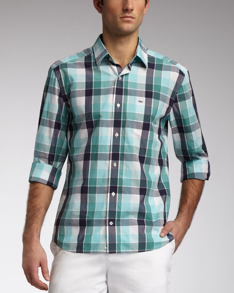Slim-Fit Plaid Sport Shirt, Capri Blue