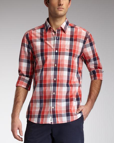 Slim-Fit Plaid Sport Shirt, Pink/Red/Navy