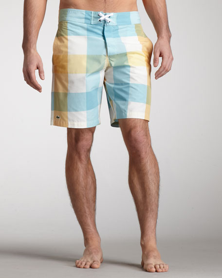 Plaid Swim Trunks, Capri Blue