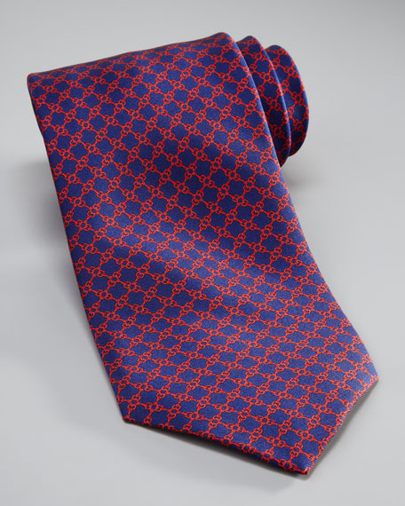 Chain-Link Silk Tie, Blue/Red