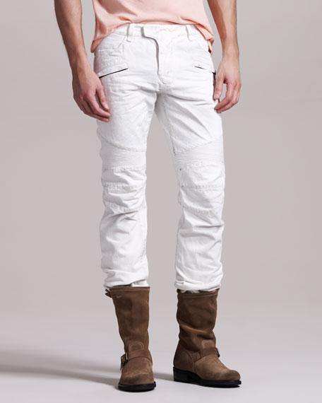 White Biker Jeans