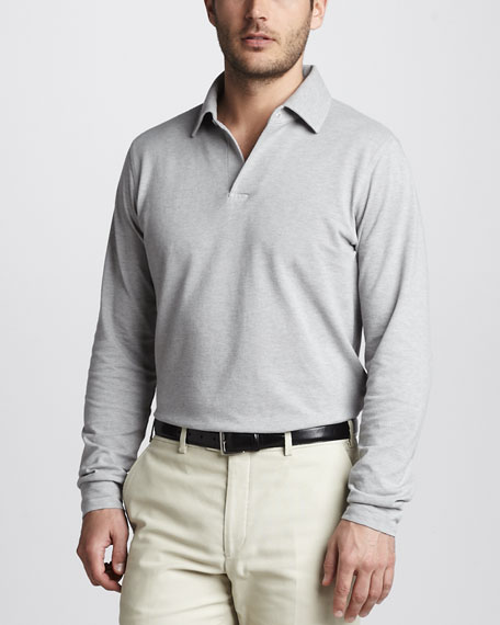 Long-Sleeve Polo, Gray