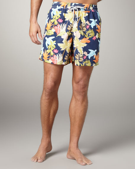 Moorea Turtle & Leaf Swim Trunks