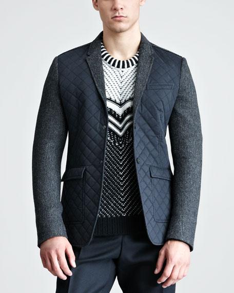 Quilt-Front Herringbone Blazer
