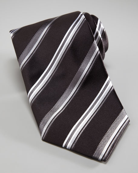 Striped Tie, Black/Silver