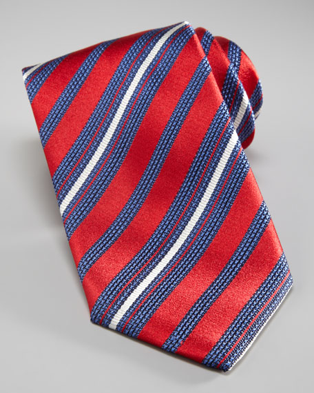 Striped Tie, Red/Blue