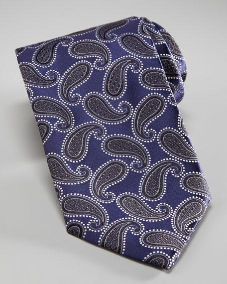 Paisley Woven Tie, Navy