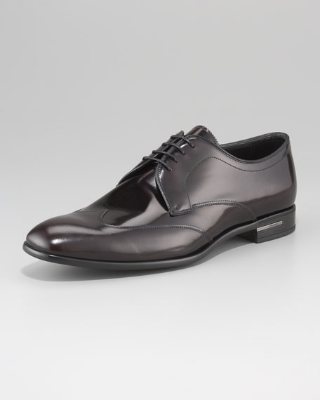 Spazzolato Wing-Tip Lace-Up with Stitching