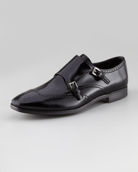 Spazzolato Double-Monk Wing-Tip Shoe