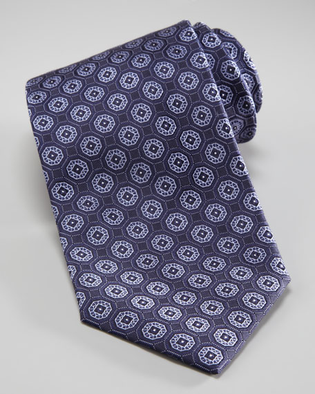 Medallion Woven Tie, Navy