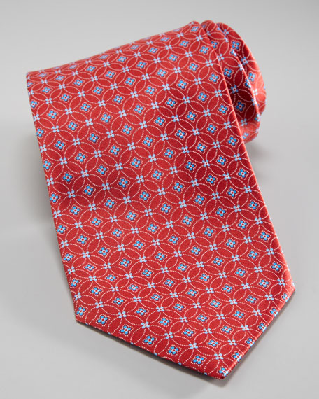 Interlocking Flower Print Tie, Red