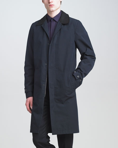 Leather-Trimmed Trenchcoat