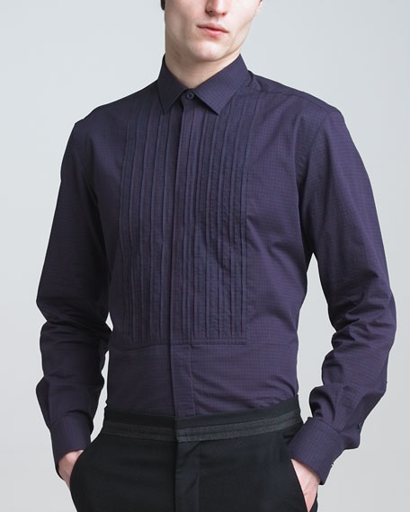 Pleated Check Shirt