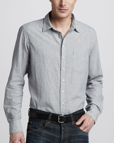 Three-Quarter Placket Shirt, Light Indigo