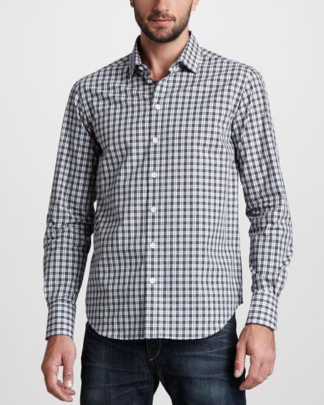 Plaid Sport Shirt, Black/Blue