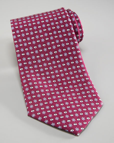 Daisies & Bees Tie, Purple/Light Blue
