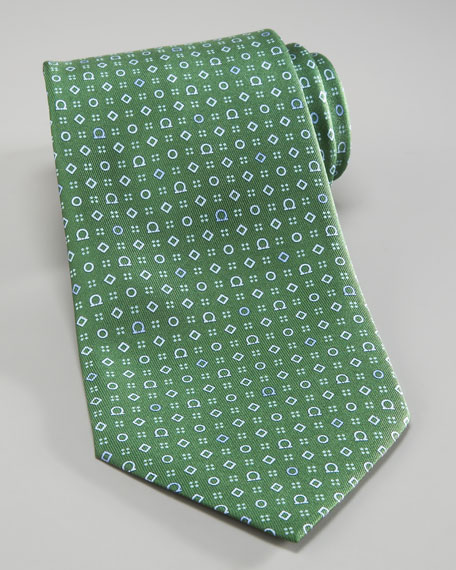 Gancini & Shapes Tie, Green