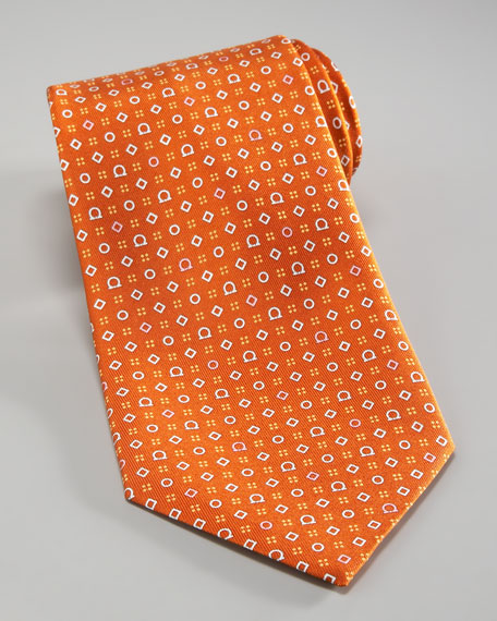 Gancini & Shapes Tie, Orange/Pink