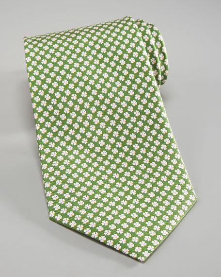 Clover-Print Silk Tie
