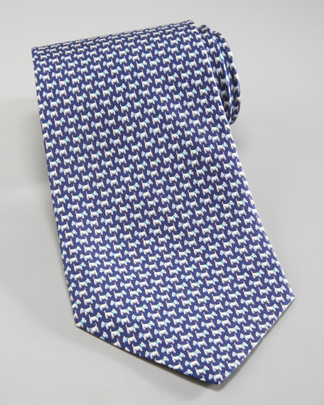 Scottie Dog Tie, Navy/Aqua Blue