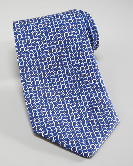 Asymmetric Gancini Tie, Navy/Light Blue