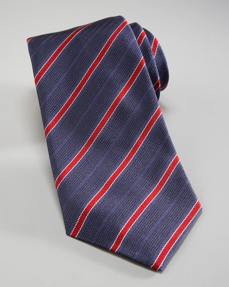 Repp-Stripe Silk Tie, Blue/Red