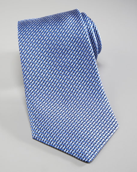 Basketweave Silk Tie, Navy/Blue