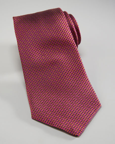 Basketweave Silk Tie, Purple
